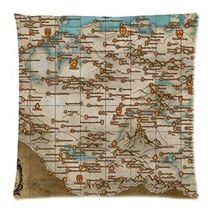 Vogue decorativo The Elder Scrolls V Skyrim mapa Custom con cremallera cuadrado manta funda de almohada Funda de cojín 18x 18(doble lados)