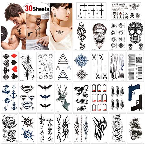 Konsait 30 Blätter Temporäre Tattoos für Männer Frauen, Gefälschte temporär Tätowierung schwarz Tattoo Körperkunst Kleine Bögen Tattoo Aufkleber Fake Arm Tattoos Sticker