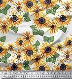 Soimoi Weiß Poly Georgette Stoff Blätter und Sonnenblumen