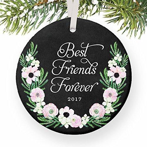 iends Forever Gifts 2017, BFF Weihnachtsschmuck, Freundschafts-Bestie Andenken Trauerschaft, Soul Sisters, Geschenk, 7,6 cm, rosa Blumen, flach, rund, Porzellan ()