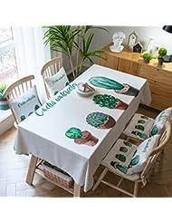Casinò e attrezzature 130*130cm turchese foglia Cottage Garden picnic rettangolare da pranzo europea scandinavo Instagram tovaglia cotone lino quadrato eco-friendly copre