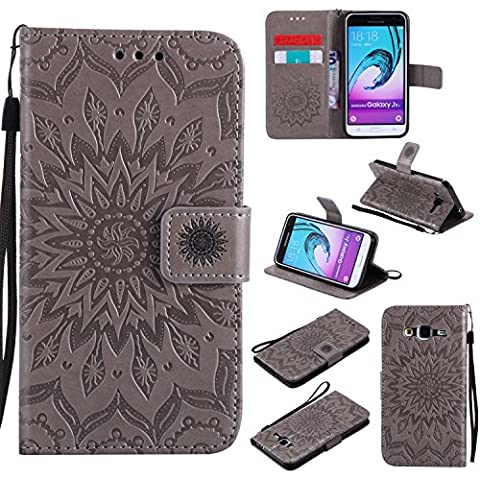For Samsung Galaxy J3 Case [Gray],Cozy Hut [Wallet Case] Magnetic Flip Book Style Cover Case ,High Quality Classic New design Sunflower Pattern Design Premium PU Leather Folding Wallet Case With [Lanyard Strap] and [Credit Card Slots] Stand Function Folio Protective Holder Perfect Fit For Samsung Galaxy J3 / J310 J3(2016) 5,0 inch -