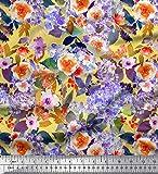 Soimoi Gelb Satin Seide Stoff Blume & Blätter Aquarell