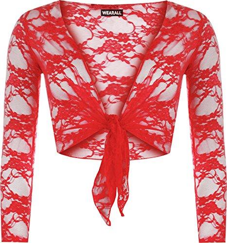 WearAll - Cardigan Court en Dentelle à Manches Longues - Hauts - Femme - Tailles 36-42 Rouge