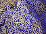 Brokat-Stoff Königsblau Gold Flechtmuster Blumenmuster Stoff Kostüm Indischer Brokat