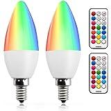 Bonlux 3W E14 RGB Dimmable bougie Ampoule LED couleur changeable RGB+Blanc Chaud 12 couleurs fonction de mémoire et minuterie