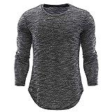 Herren Langarmshirt mit Rundhalskragen Longsleeve Slim Fit T-Shirt Oberteile Fitness Shirt Basic Pullover Sweatshirt Herbst Winter Bekleidung von Innerternet