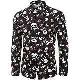 Loeay Camisa de Hombre de Manga Larga Tops de Playa Blusa Informal Suelta Camisa Hawaiana de Talla Grande Streetwear Chemise