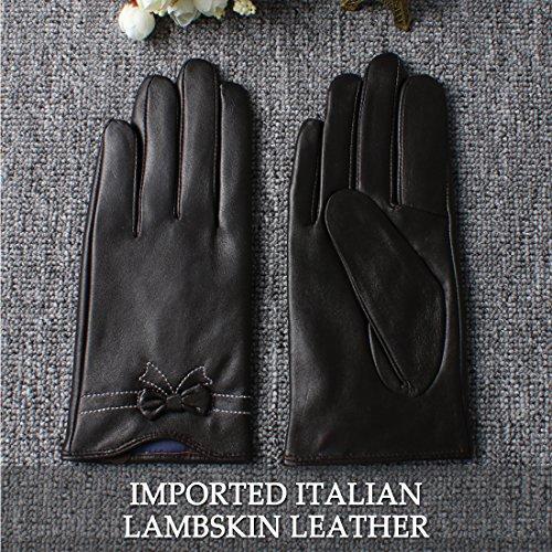 des gants en cuir d'nappaglo le véritable hiver chaud simple des gants blancs (écran ou décoratifs couture bow non écran) brun foncé (Non-tactile)