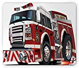Fire Truck Mouse Pad, Realistic Illustration Big Truck Fire Rescue Department Transportation, Ruby Pale