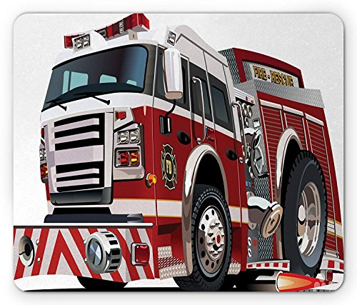 Fire Truck Mouse Pad, Realistic Illustration Big Truck Fire Rescue Department Transportation, Ruby Pale (Pink Fire Truck)