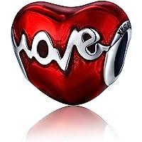 Annmors Charme Cœur de Argent Sterling 925 Femmes Perles Charm avec 5A Zircone Compatible pour Pandora & Européen…