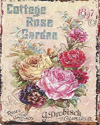 METAL SIGN CO 1897Cottage Rose Garden Garten-Metall Wand Schild retro vintage Stil Groß 30,5x 40,6cm 30x 40cm Pub Bar Spiele Raum Man Cave Art Wand Garden Shed Eintopfen -