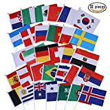 Lolitarcrafts Stock-Flaggen-Handminiflagge auf Stock-Runde Oberseite 32 Länder für Fußball-Nacht, Garten-Fahnen, Stab und Garten-Dekoration liefert Weltmeisterschaft 2018