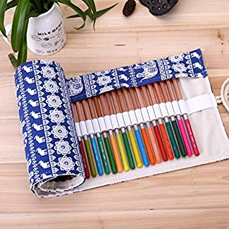 Primi étnica 72agujeros Ethnic lienzo Wrap Roll up Estuche bolígrafo soporte para bolsa de almacenamiento–azul