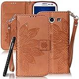 SlynmaxSchutzhülle für Samsung Galaxy S3 SIII i9300 Hülle PU Leder Tasche Flip Cover Case Wallet Blumen Mandala Hand Strap Lederhülle Lanyard Handyhülle Stand Ständer Karte Klapphülle (Braun)