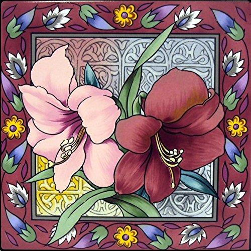 Preisvergleich Produktbild Amaryllis Tile Dekoratives Blumenmuster 15,2cm Fliesen und Hand in Großbritannien.