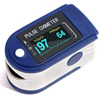 Digistream Fingertip Pulse Oximeter For Adults / Children | DS2 Series High Accuracy Pulse Oxymeters For Blood Oxygen Saturation SpO2 and Heart Rate Monitoring | Assembled in India ( Blue Color ) ( CE , ROHS , FDA , FCC Certified )