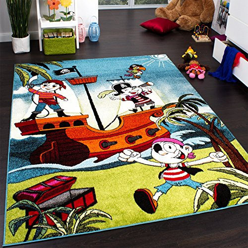 Kids' Rug - Pirates - Jolly Roger - Multicoloured - Turquoise, Size:200x280 cm