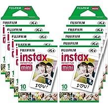 Fujifilm Instax Mini Brillo - Pack con 10 paquetes de películas fotográficas instantáneas (10 hojas), color blanco
