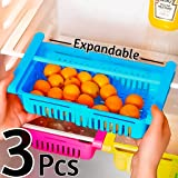 Angel Bear 3 Pcs Expandable Adjustable Fridge Storage Basket Under Shelf Fridge Organiser Rack Space Saver Refrigerator…