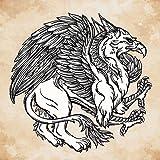 PB Vintage Griffin Mythological Magic Winged Beast Peel & Stick Vinyl Wall Sticker 30 x 30inch