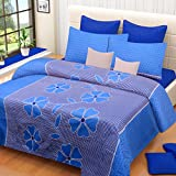 Home Elite Dynamic 120 TC Cotton Double Bedsheet with 2 Pillow Covers - Floral, Blue