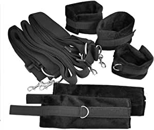 Le Coin Coquin Bondage Set Includes 4 Ties + 2 Wrist Cuffs + 2 Ankle Cuffs