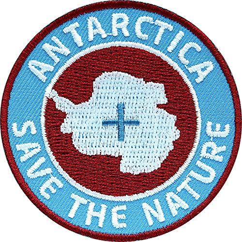 Club of Heroes 2 x Antarktis Abzeichen gestickt 60 mm blau-rot/Antarctica Save The Nature/Arktis Südpol Polar Eisberg Schutz Expedition Project/Aufnäher Aufbügler Sticker Patch für Kleidung Rucksack -