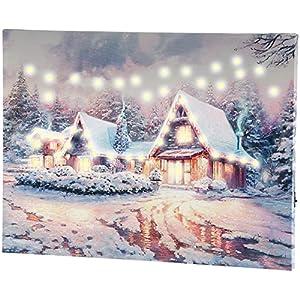 infactory Weihnachtsbilder: Wandbild Winterdorf mit LED-Beleuchtung, 40 x 30 cm (Leinwandbild)