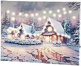 infactory LED Bild: Wandbild Winterdorf mit LED-Beleuchtung, 40 x 30 cm (Weihnachtsbild)
