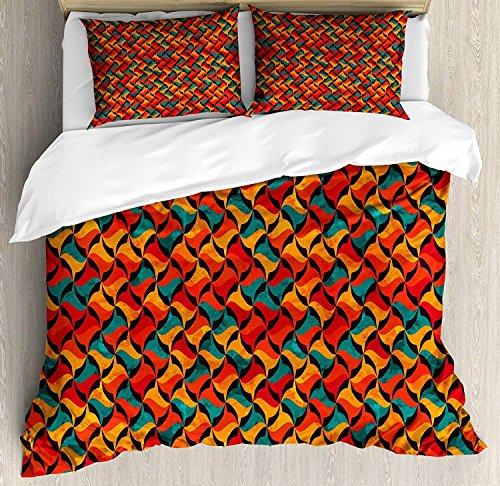Geometrische 3 Stück Bettwäsche Bettbezug Set, abstrakte Funky Waves Moderner Stil lebendige Stammes-afrikanische Effekte, 3 Stück Tröster / Qulit Cover Set mit 2 Kissenbezügen, Jade Grün Rot Orange -