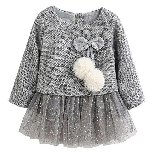 De feuilles Baby Girls Long Sleeve Princess Tutu Dress Outfit Gauze Dress