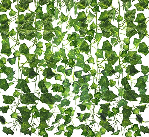 Amerisky artificiale foglie edera,12 fili (25,6 m) Fake Hanging Vine Green leaves Foliage Plants for wedding garland Home Garden wedding party Wall Decor