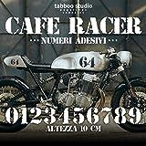 Numeri adesivi moto vintage Cafe Racer compatibile con moto BMW Honda Harley Davidson Kawasaki