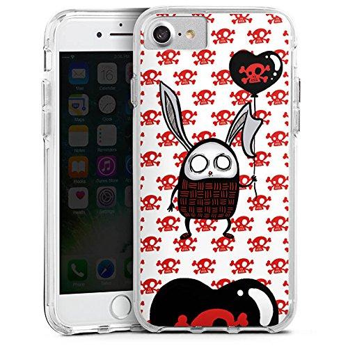Apple iPhone 8 Bumper Hülle Bumper Case Glitzer Hülle Hase Heart Herz Bumper Case transparent