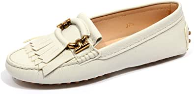 F9666 Mocassino Donna off White Tod'S Hammered Leather Loafer Shoe Woman