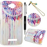 Alcatel One Touch Pop C7 Funda - Lanveni® Chic Elegante Carcasa Rigida PC ultra Slim para Alcatel One Touch Pop C7 Translúcido Protective Back Case Cover - Patrón totem flor Diseño + lápiz capacitivo + Enchufe anti del polvo