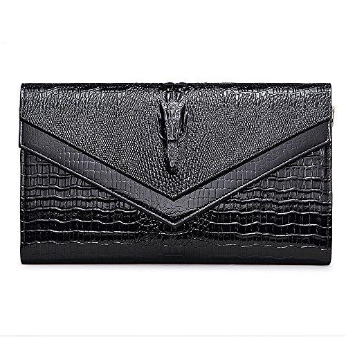 IACON Krokodil Textur Damen Clutch Tasche Leder Mini Geldbörse Brieftasche Handschlaufe Unterarmtasche Schultertasche Handtasche Damentasche Citytasche Abendtasche für Veranstaltung Fest (Black)