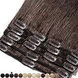 Extension a Clip Cheveux Naturel Rajout Cheveux Humain Vrai Cheveux Remy Human Hair 8 Pcs (#02 Brun, 45cm-100g)