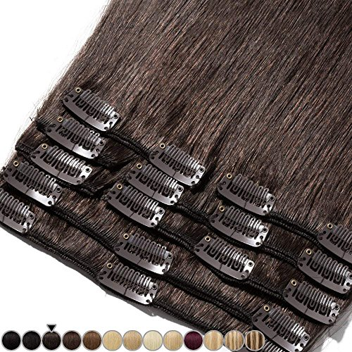 Extension clip capelli veri umani 8 fasce remy human hair full head xl set lisci naturali lunga 45cm pesa 100grammi, 2 marrone scuro