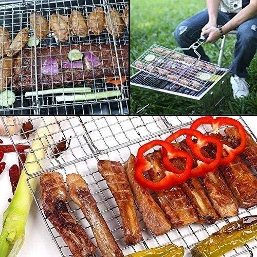 610RGVkNB5L - WolfWise Grillkorb Fischbräter, Grill Fischhalter Gemüsekorb Burger Grillwender, mit Abziehbarem Holzgriff, aus 430 Edelstahl