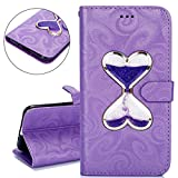 ISAKEN Samsung Galaxy J3 Case, Galaxy J3 Flip Case, PU Leather Cover Hourglass Design Floating Quickland Inside for Samsung J3 - Bookstyle Cell Phone Case Luxury Pu Leather Wallet Magnetic Design Mobile Cover Protect Skin Stand Case Pouch with Card Holder - purple