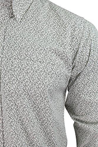 Relco Mini Imprimé Floral Chemise Bouton Manche Longue Noir Blanc