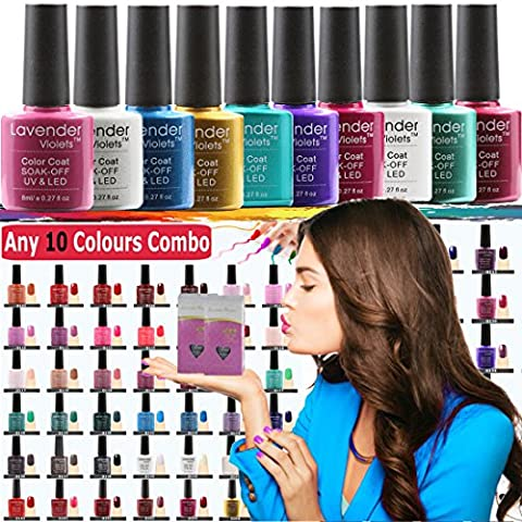 Lavender Violets® (Any 10 Soak off Gel Colour Combo) 100+ LED/UV Gel Nail Colours to Choose 8 ml. / Each Bottle Professional Gel Nail Varnish for Manicure Pedicure Salon Party Holiday Nail Design