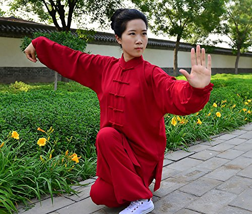 KIKIGOAL Unisex Tai Chi Anzug Damen und Herren Kung Fu Uniformen Kampfsport Baumwolle Flachs und Seide Chinoiserie Weinrot
