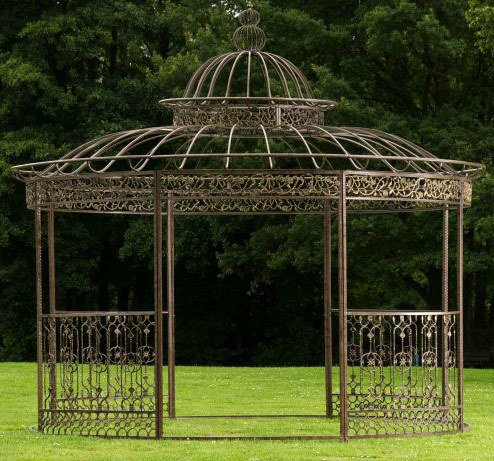 CLP runder LUXUS Pavillon ROMANTIK, aus stabilem Eisen Vierkantprofilen, Ø 5 Meter, Höhe 4,45 Meter Bronze
