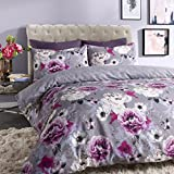 Inky Floral Grey Reversible Duvet Cover and Pillowcases Bedding Set by Pieridae.(King)