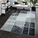 Teppich Preiswert Karo Design Modern Wohnzimmerteppich Grau Schwarz Top Preis, Größe:120x170 cm
