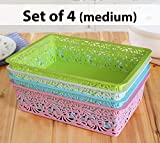 #2: TIED RIBBONS Set of 4 Premium Quality plastic basket Storage box / organizer / bin / Basket and holding space for for Bathroom office basket storage organisers for wardrobe cosmetics Utility Kitchen
